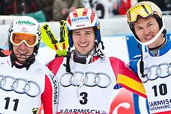 13.03.2010, Goudyberg Herren, Garmisch Partenkirchen, GER, FIS Worldcup Alpin Ski, Garmisch, Men Slalom, im Bild Podium Slalom Wudiberg 2010 Herren, v.l. zweitplazierter Pranger Manfred, ( AUT, #11 ), Ski Voelkl, erstplazierter Neureuther Felix, ( GER, #3 ), Ski Atomic und drittplazierter Myhrer Andre, ( SWE, #10 ), Ski Nordica, EXPA Pictures © 2010, PhotoCredit: EXPA/ J. Groder