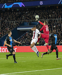 MBAPPE LOTTIN Kylian from PSG and Simon MIGNOLLET (Goal Keeper) from BRUBES In action during the UEFA Champions League Group A football match Paris Saint-Germain (PSG) v Club Brugge at the Parc des Princes stadium in Paris, France, on November 6, 2019. Photo by Loic BaratouxABACAPRESS.COM