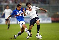 Genova 13/9/2003 <br />Sampdoria -  Lazio 1-2<br />A challenge between Angelo Palombo (sampdoria) and Stefano Fiore (Lazio)<br />Foto Andrea Staccioli Graffiti