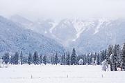 Upper Genesee Valley From Heart K Pasture, Winter Scenes, Genesee Valley Ranch, Sierra Nevada Mountains, Genesee, California Mountains, Winter Scenes, Mountain Ranch, Mountain Valley Living, fresh snow, mist, fog, dark skies, cloudy skies, cloudy sky, majestic, mystical