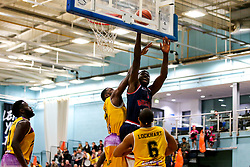 Daniel Edozie of Bristol Flyers scores a two pointer - Photo mandatory by-line: Robbie Stephenson/JMP - 10/04/2019 - BASKETBALL - UEL Sports Dock - London, England - London Lions v Bristol Flyers - British Basketball League Championship