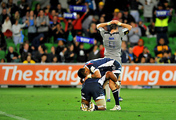 Cooper Vuna & Richard Kingi celebrate.with Jeremy Thrush in the background.Melbourne Rebels v The Hurricanes.Rugby Union - 2011 Super Rugby.AAMI Park, Melbourne VIC Australia.Friday, 25 March 2011.© Sport the library / Jeff Crow
