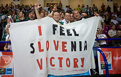 Slovenian fans during the basketball match at 1st Round of Eurobasket 2009 in Group C between Slovenia and Serbia, on September 08, 2009 in Arena Torwar, Warsaw, Poland. (Photo by Vid Ponikvar / Sportida)