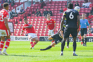 Alex Mowatt of Barnsley (27) scores a goal to make the score 1-0 during the EFL Sky Bet League 1 match between Barnsley and Shrewsbury Town at Oakwell, Barnsley, England on 19 April 2019.