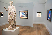 Sotheby's £250m Impressionist & Modern Art and Contemporary Art Summer Sales.  Highlights include: Monet's Water Lilies est £20-30m; a Mondrian, est £13-18m; a Peter Doig, est £9m; a Frances Bacon triptych of his lover George Dyer, est £15-20m; and works by Matisse, Picasso  (here his L'Atelier in contrast to a Roman statue from an earlier exhibition, pictured), Basquiat, Warhol and Richter. Sotheby's, New Bond Street, London.