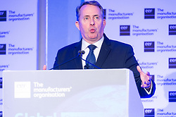 © Licensed to London News Pictures. 20/02/2018. London, UK. Secretary of State for International Trade and President of the Board of Trade LIAM FOX MP makes a speech at the EEF National Manufacturing Conference 2018, held at QEII centre. Photo credit: Ray Tang/LNP