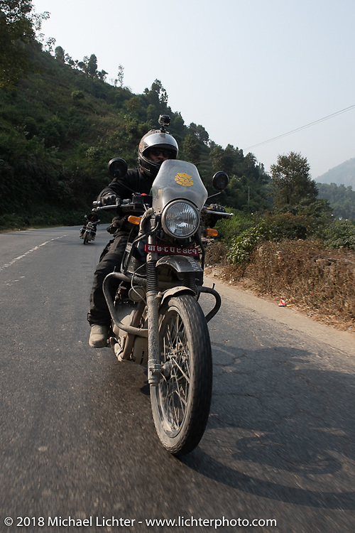 Chris Shelby on day-9 of our Himalayan Heroes adventure riding from Pokhara to Nuwakot, Nepal. Wednesday, November 14, 2018. Photography ©2018 Michael Lichter.