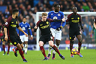 Kevin De Bruyne of Manchester City takes the ball  away from Romelu Lukaku of Everton. Premier league match, Everton v Manchester City at Goodison Park in Liverpool, Merseyside on Sunday 15th January 2017.<br /> pic by Chris Stading, Andrew Orchard sports photography.