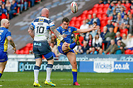 Doncaster RLFC loose forward Brandon Wilkinson (26) puts the high kick up during the Challenge Cup 2018 match between Doncaster and Featherstone Rovers at the Keepmoat Stadium, Doncaster, England on 22 April 2018. Picture by Simon Davies.