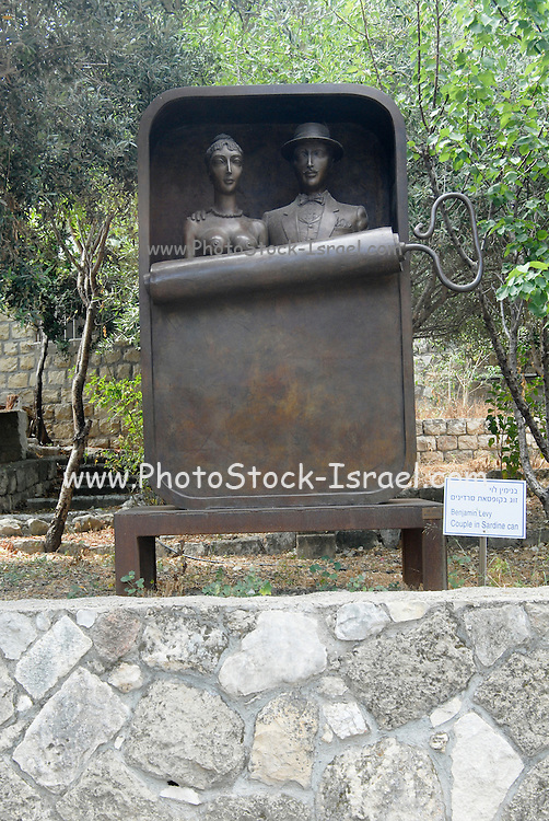 Israel, Carmel Mountain Range, Ein Hod, Artist's village A Couple in a Sardine Can statue by Benjamin Levy