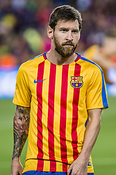August 13, 2017 - Barcelona, Catalonia, Spain - FC Barcelona forward MESSI looks on during the warm up prior to the Spanish Super Cup Final 1st leg between FC Barcelona and Real Madrid at the Camp Nou stadium in Barcelona. (Credit Image: © Matthias Oesterle via ZUMA Wire)