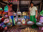 08 OCTOBER 2017 - GAMPAHA, WESTERN PROVINCE, SRI LANKA:  A vendor in the market in Gampaha, north of Colombo. Sunday is the main market day in this community.   PHOTO BY JACK KURTZ
