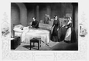 Florence Nightingale (1820 -1910) English nurse, in the hospital at Scutari. The doctor is splinting the patient's arm. Crimean War 1853-1856. Engraving