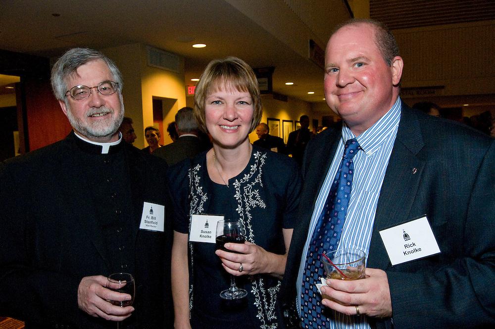 Fr. Bill Stanfeld (left), Susan Knolke, and Rick Knolke enjoy cocktails at the Annual Rectors Dinner at the Hyatt, Milwaukee, Wisconsin on October 4, 2008.