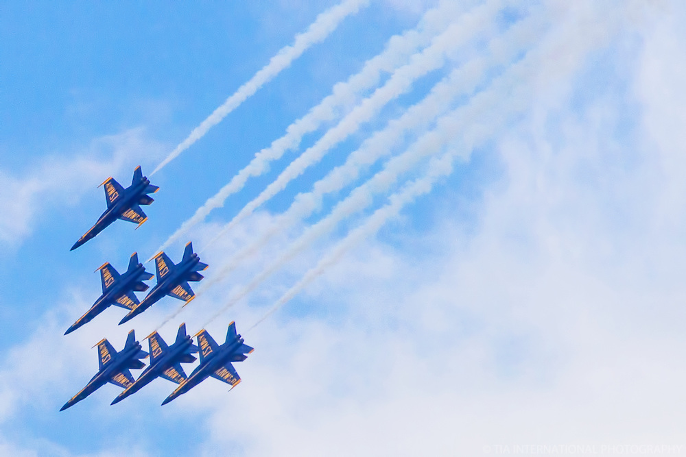 Six Blue Angels in Formation