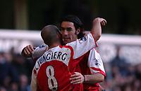 Photo. Daniel Hambury.<br /> Barclays Premiership.<br /> Tottenham Hpotspur v Arsenal. 13/11/2004.<br /> Arsenal's fifth goal scorer Robert Pires celebrates with fellow goal scorer Ljunberg<br /> NORWAY ONLY