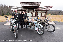 Three happy Germans - Eric Trapp (Harley-Davidson Frankfurt owner) with his son Eric and friend from WW Cycles Paul Jung next to their 100-year old Harley-Davidson motorcycles after successfully climbing the 10,857' Wolf Creek Pass during the Motorcycle Cannonball Race of the Century. Stage-10 ride from Pueblo, CO to Durango, CO. USA. Tuesday September 20, 2016. Photography ©2016 Michael Lichter.
