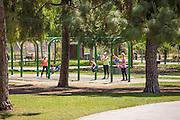 Mom's with their Children at Ralph B. Clark Regional Park in Buena Park