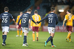 Dundee's Luka Tankulic celebrates after scoring their fourth goal with Dundee's Greg Stewart. <br /> Dundee 4 v 1 Motherwell, SPFL Premiership played 10/1/2015 at Dundee's home ground Dens Park.