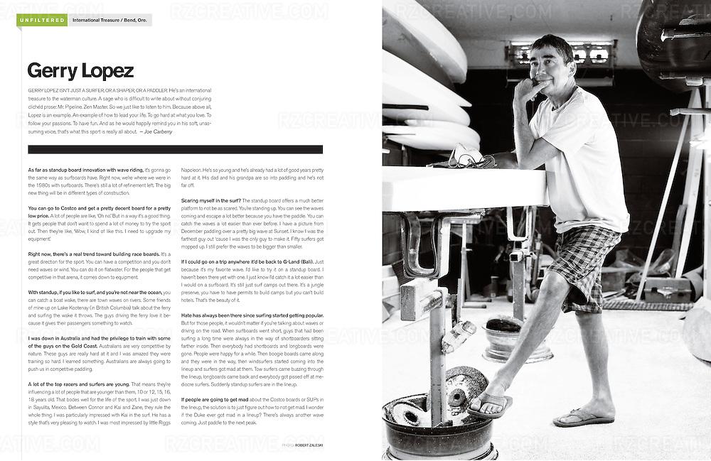 Gerry Lopez for SUP magazine. Photo © Robert Zaleski / rzcreative.com