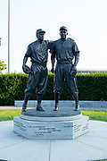 A statue of Jackie Robinson and Pee Wee Reese by William Behrends in Maimonides Park, home of the Brooklyn Cyclones baseball team.