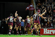 July 6th 2011: QLD Maroons celebrate a Jharal Yow Yeh try during game 3 of the 2011 State of Origin series at Suncorp Stadium in Brisbane, QLD, Australia on July 6, 2011. Photo by Matt Roberts / mattrimages.com.au / QRL