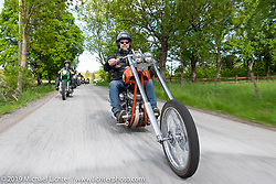 Uffe Karlsson riding his 1961 Harley-Davidson Panhead long Swedish chopper on a Twin Club ride out from the club house in Norrtälje after their annual Custom Bike Show. Sweden. Sunday, June 2, 2019. Photography ©2019 Michael Lichter.