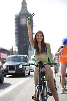 Hundreds of people cycled nude through the streets of London during an annual environmental protest  The World Naked Bike Ride to protests oil dependency and car culture photo by Roger alarcon