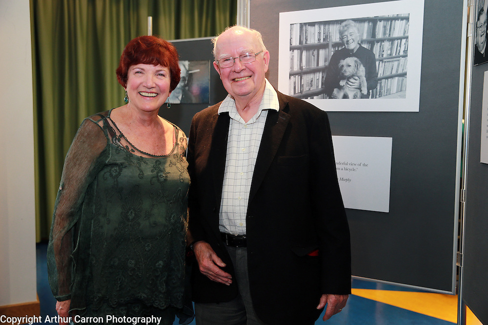 30/4/14 Photographer Ann Henrick with Gordan Snell at the launch of a photographic exhibition in memory of Maeve Binchy for Age Action at European Union House in Dublin. Picture:Arthur Carron