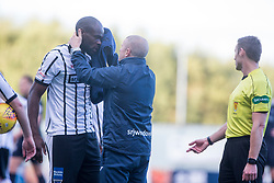 Dunfermline's Jean Yves Mvoto with a cut face. Falkirk 2 v 0 Dunfermline, Scottish Challenge Cup played 7/9/2017 at The Falkirk Stadium.