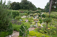 A stone urn and climbing roses in the herb garden overlooking the moat at Hindringham Hall, Hindringham, Norfolk, UK