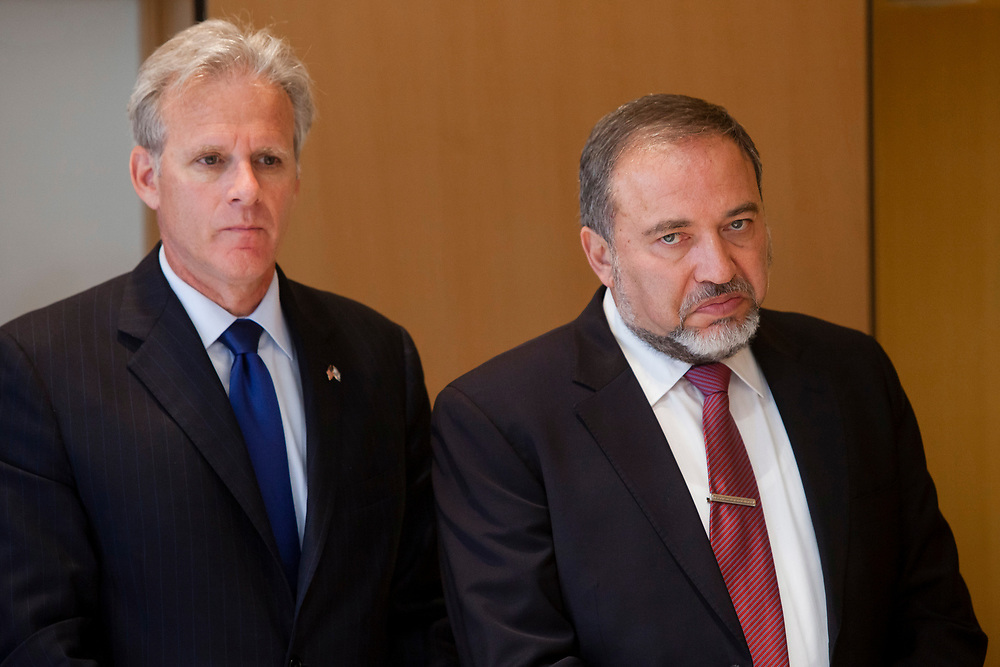 Israel's Minister of Foreign Affairs Avigdor Lieberman (R) and Israel's ambassador to the United States Michael Oren are seen at the Ministry of Foreign Affairs in Jerusalem, Israel, on May 20, 2012.