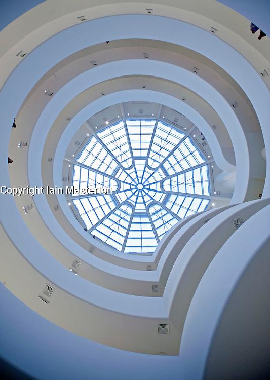 Interior view of Solomon Guggenheim Museum in Manhattan New York City