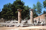 Olympia, Greece. Temple of Hera (Juno) 7-6th centuries BC. Photograph