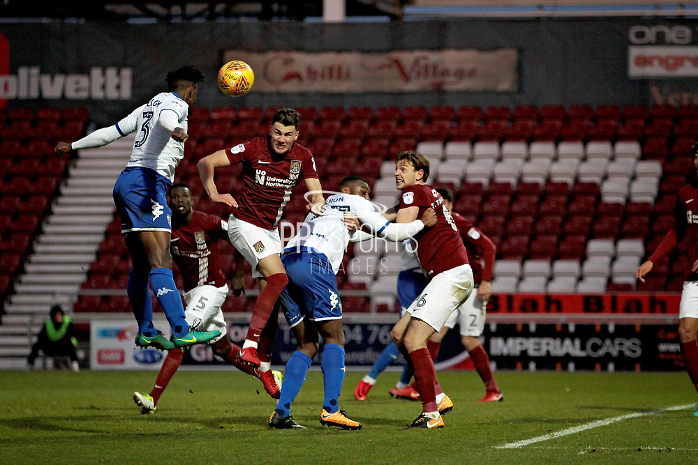 Bury Town defender Greg Leigh (3) with a headed chance during the EFL Sky Bet League 1 match between Northampton Town and Bury at Sixfields Stadium, Northampton, England on 25 November 2017. Photo by Nigel Cole.