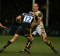 Photo: Rich Eaton.<br /> <br /> Worcester Rugby v London Wasps. Guinness Premiership. 26/01/2007. Lawrence Dallaglio captain of Wasps right tackles Gary Trueman of Worcester