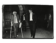 Labour leader Michael Foot and hon Rupert Soames. Oxford Union. 1980