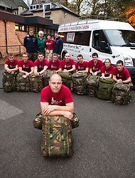 Staff Sgt Jim Offord, (front) and team members from 39 Engineer Regiment , Lance Corporal Dean Howard, Corporal Dave Little, Sapper Darren Pallatina, Lance Corporal Rich Holmes, Corporal Mark Cammock, Sapper Garry Scott, Lance Corporal Dave Hopkins, SSgt Darren King, Sapper James Payze, Captain Jo Miles, Sgt Steve Bedford and, Lance Corporal Lee Melia with support team members Ami Offord paramedic and Arlene Howard sports physio. Who will be working to complete the 10 Squaddies, 10 Marathons, 5 Days Challenge carrying 40lb Bergens. The team aimed to raise £4800 for St Dunstan's Charity for blind ex-Service men and women but the figure now stands £10,000 raised...1 November 2010 .Images © Paul David Drabble