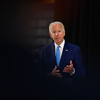 WILMINGTON, DE:  Former Vice President Joe Biden, the  presumptive Democratic Presidential nominee, takes questions from the media after delivering remarks on Donald Trump's failure to protect the American people, the need to address the growing pandemic, and how to safely and effectively re-open the economy at Alexis Dupont High School in Wilmington, Delaware on June 30, 2020.  CREDIT:  Mark Makela for The New York Times