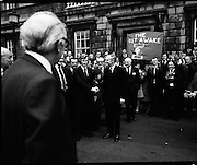 Newly Elected TD Enda Kenny Arrives at The Dail..(J89)..1975..18.11.1975..11.18.1975..18th November 1975..Following the death of his father,Henry Kenny TD, Enda Kenny was proposed by the Fine Gael party to contest the seat. He was duly elected and went to Dublin to take up his seat in Dail Eireann at Leinster House, Dublin.