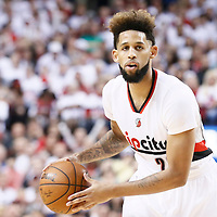 25 April 2016: Portland Trail Blazers guard Allen Crabbe (23) looks to pass the ball during the Portland Trail Blazers 98-84 victory over the Los Angeles Clippers, during Game Four of the Western Conference Quarterfinals of the NBA Playoffs at the Moda Center, Portland, Oregon, USA.