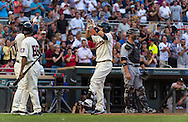 Brian Dozier #2 of the Minnesota Twins celebrates after hitting a home run against the Chicago White Sox on June 19, 2013 at Target Field in Minneapolis, Minnesota.  The Twins defeated the White Sox 7 to 4.  Photo: Ben Krause