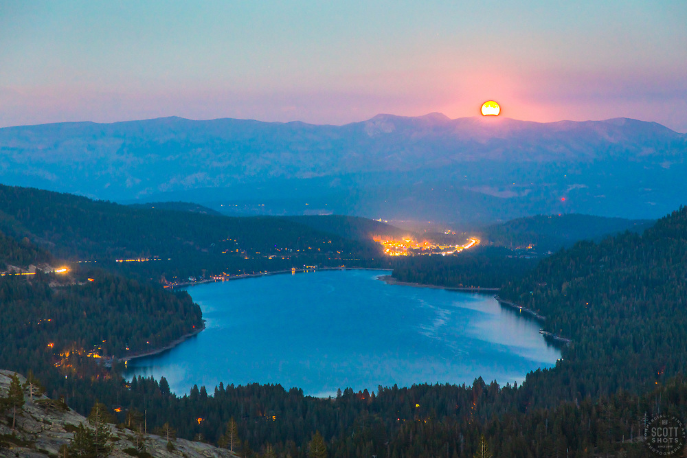 """""""Full Moon Above Donner Lake 9"""" - Photograph of the full moon rising above Truckee, California and Donner Lake, shot after sunset."""