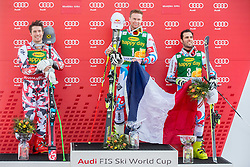 Second placed HIRSCHER Marcel of Austria, winner PINTURAULT Alexis of France and third placed FANARA Thomas of France celebrate during Trophy ceremony after the Men Giant Slalom race of FIS Alpine Ski World Cup 54th Vitranc Cup 2015, on March 14, 2015 in Kranjska Gora, Slovenia. Photo by Vid Ponikvar / Sportida