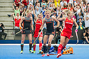 England's Alex Danson celebrates her 100th goal. England v The Netherlands, Lee Valley Hockey and Tennis Centre, London, England on 11 June 2017. Photo: Simon Parker