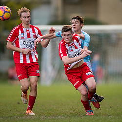 BRISBANE, AUSTRALIA - JULY 15:  during the NPL Queensland U18 Boys Round 18 match between Brisbane City and Olympic FC at Goodwin Park on July 15, 2017 in Brisbane, Australia. (Photo by Patrick Kearney/Olympic FC)