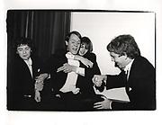 Robin Howard, hon Rupert Soames, Roderick Campbell, Richard Bott. Keats dinner. Studley Priory. 1980