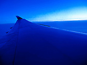 23 MAY 2010 - SAN FRANCISCO, CA: Wingtip of a Boeing 747-400 flying between Tokyo (Narita) and San Francisco airports. A United Airlines airplane. PHOTO BY JACK KURTZ
