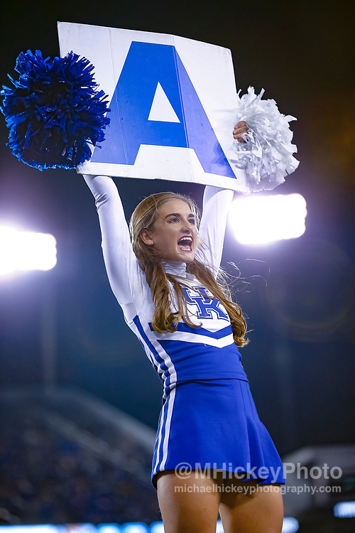 LEXINGTON, KY - OCTOBER 07: A Kentucky Wildcats cheerleader is seen during the game against the Missouri Tigers at Commonwealth Stadium on October 7, 2017 in Lexington, Kentucky. (Photo by Michael Hickey/Getty Images)