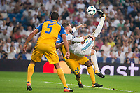 Real Madrid's Sergio Ramos and Apoel's /ap5/ and Carlos Roberto Da Cruz Junior during UEFA Champions League match between Real Madrid and Apoel at Santiago Bernabeu Stadium in Madrid, Spain September 13, 2017. (ALTERPHOTOS/Borja B.Hojas)